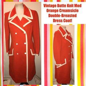 Vintage Butte Knit Mod Double-Breasted Dress Coat!